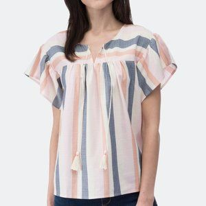 New Bobeau Romina Tie Front stripe Blouse top wome